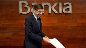 El presidente de Bankia, Jose Ignacio Goirigolzarri, durante la presentación de los resultados de la entidad correspondientes al ejercicio 2019