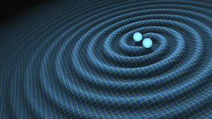 Ilustración en la quese muestra el impacto de las ondas gravitacionales causadas por un evento cósmico