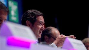 El presidente de la CEOE, Antonio Garamendi, durante su intervención en la Asamblea General de la patronal.