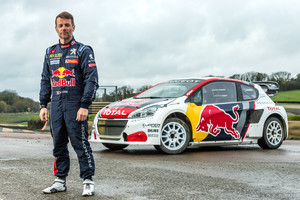 Sebastien Loeb poses for a portrait during Red Bull Team Peugeot Hansen photoshoot in Lydden Hill Circuit, UK, on March 20, 2017