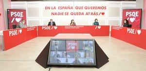 El secretario de Organización del PSOE, José Luis Ábalos, preside la reunión de la ejecutiva federal del partido, con Santos Cerdán, Cristina Narbona, Carmen Calvo y Maritcha Ruiz, este 19 de octubre del 2020 en la sede de Ferraz.