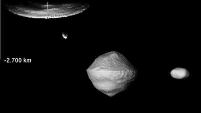 Simulación del asteroide (66391) 1999 KW4.