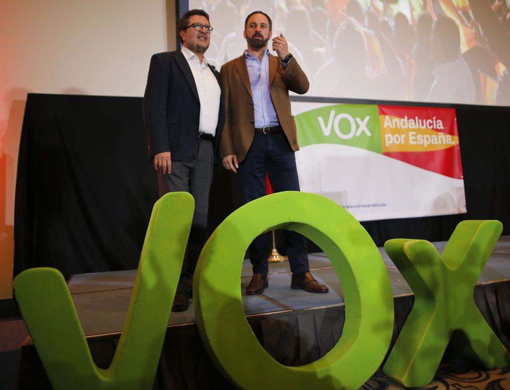 Spain's far-right VOX regional candidate Francisco Serrano is flanked by VOX party leader Santiago Abascal before a news conference following the Andalusian regional elections n Seville, Spain December 3, 2018. REUTERS/Jon Nazca