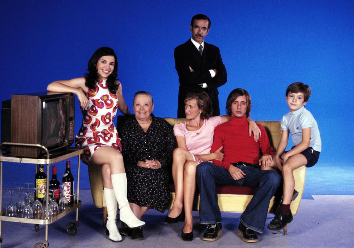 Imagen promocional de los protagonistas de la serie de TVE Cuéntame..., en sus primeras temporadas.