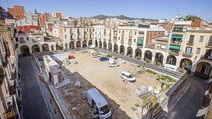 Vistas de la plaza del Mercadal en Sant Andreu, esta semana