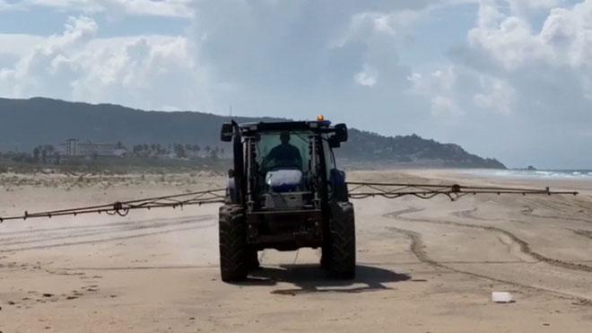 Polèmica a Zahara de los Atunes després de fumigar una platja amb lleixiu