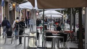 Terrazas en la calle de Blai, el pasado día 16 de marzo, día en el que se conoció la sentencia.