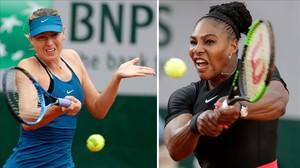 Maria Sharapova y Serena Williams, en sendos partidos de Roland Garros.