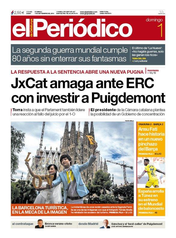 La portada de EL PERIÓDICO del 1 de septiembre del 2019