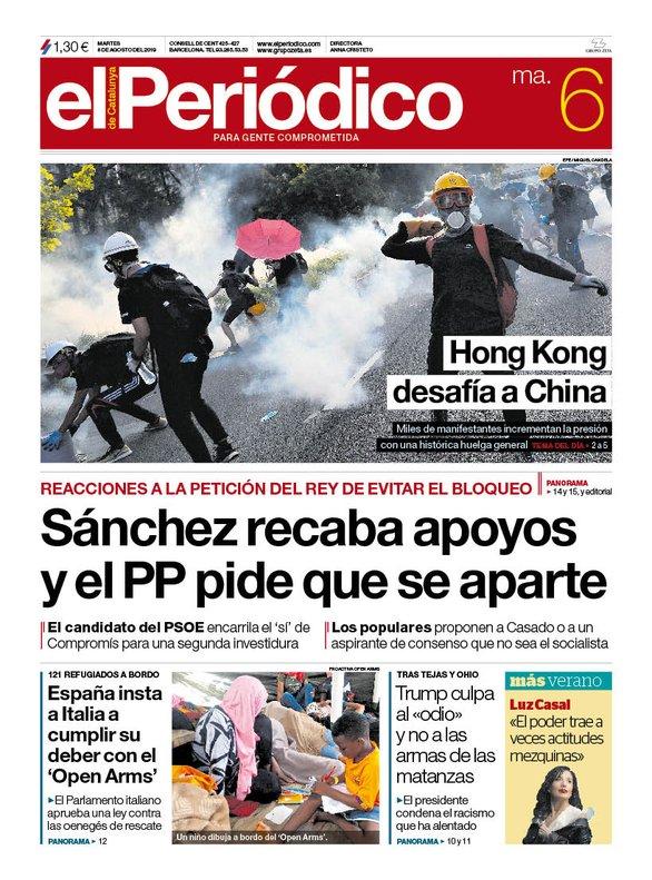 Prensa hoy: Portadas de los periódicos del 6 de agosto del 2019