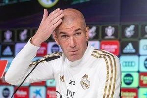 El entrenador del Madrid Zinedine Zidane este miércoles en rueda de prensa.