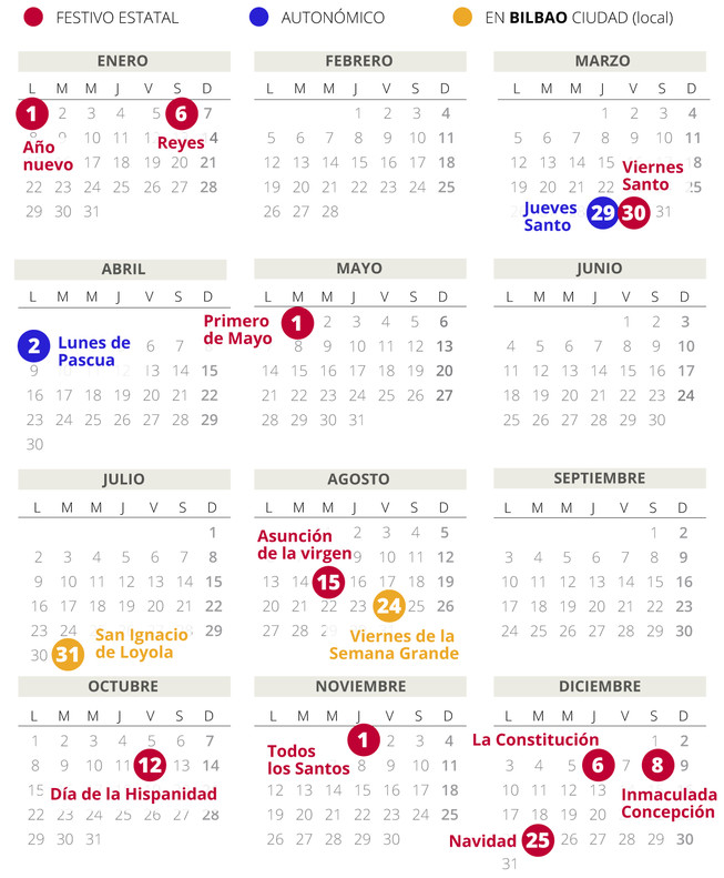 Calendario laboral de Bilbao del 2018.