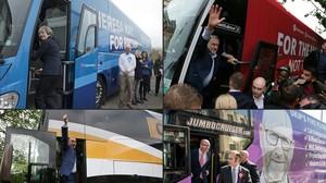 Cuatro de los pricipales candidatos con sus autobuses de campaña. Arriba, la primera ministra,Theresa May, y el lider laborista,Jeremy Corbyn. Abajo, el máximo dirigente del partido de extrema derecha (UKIP),Paul Nuttall, y el del Partido Liberal,Tim Farron .