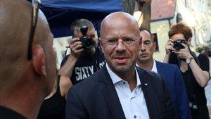El candidato de AfD en Brandenburgo, Andreas Kalbitz, en el cierre de campaña el viernes.