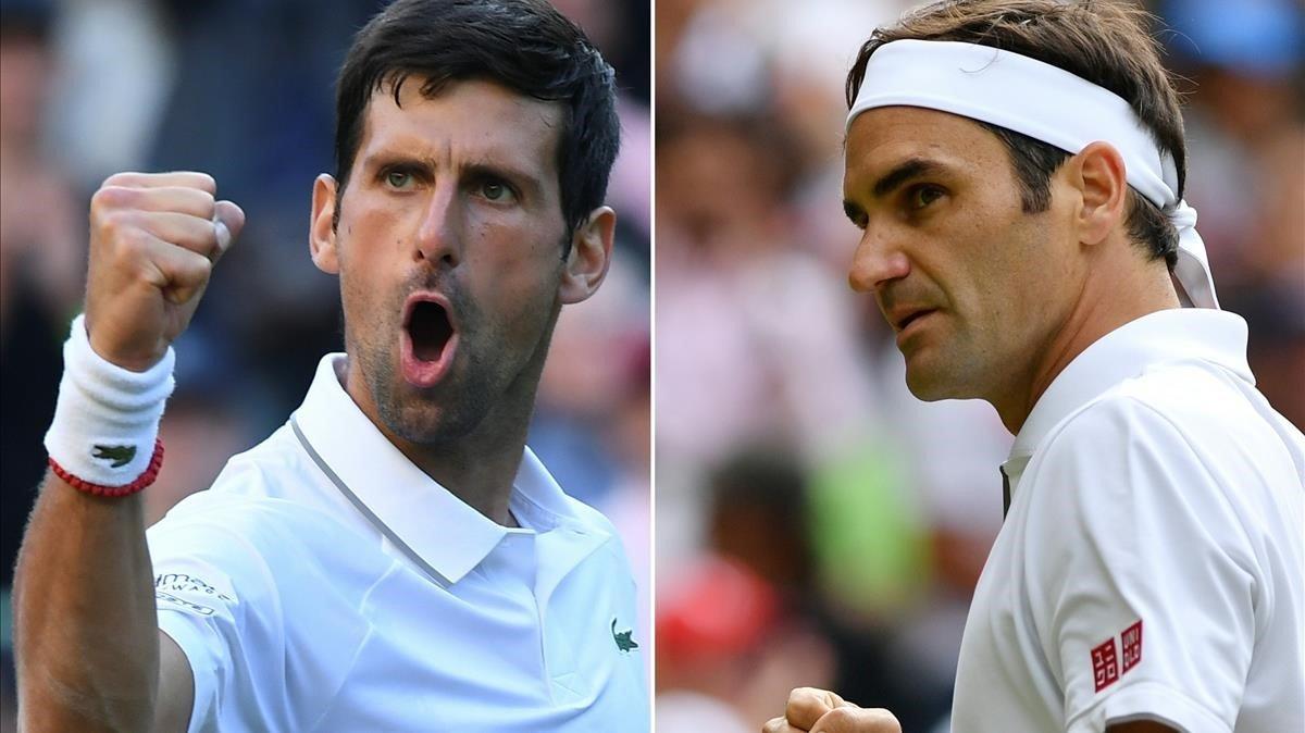 Combinación de imágenes de Federer y Djokovic.
