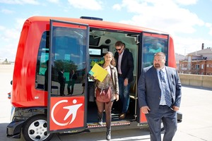 Imagen del autobús sin conductor que se probará el próximo septiembre en ocho localidades catalanas.