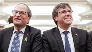 Conferencia de prensa del presidente de Catalunya Quim Torra y el expresidente Carles Puigdemont