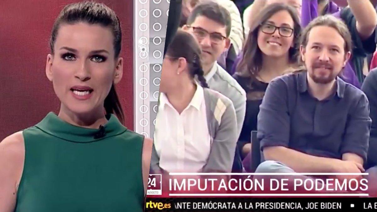 Cristina Pampín y Pablo Iglesias en el sumario del Canal 24 Horas de TVE.