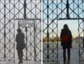 La puerta del campo de concentración nazi de Dachau antes y después del robo.
