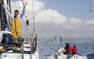 Dídac Costa, a su llegada este sábado a Barcelona a bordo del One Planet One Ocean.