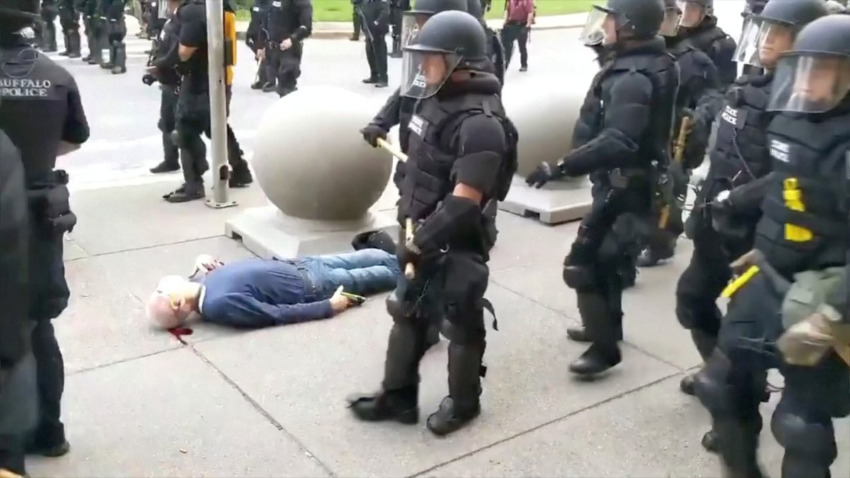 SENSITIVE MATERIAL. THIS IMAGE MAY OFFEND OR DISTURB An elderly man bleeds from his ears after falling, after appearing to be shoved by riot police during a protest against the death in Minneapolis police custody of George Floyd, in Buffalo, New York, U.S. June 4, 2020 in this still image taken from video. WBFO/via REUTERS TV ATTENTION EDITORS - NO RESALES. NO ARCHIVES. THIS IMAGE HAS BEEN SUPPLIED BY A THIRD PARTY. MANDATORY CREDIT