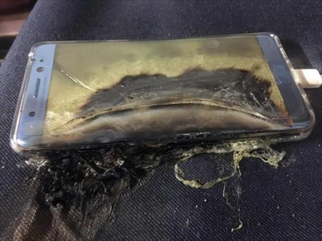 Estado un de Galaxy Note 7 defectuoso tras incendiarse.