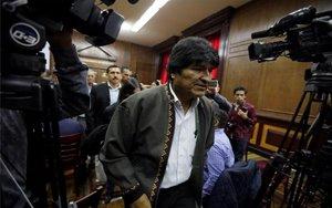 Evo Morales en una conferencia de prensa en México.