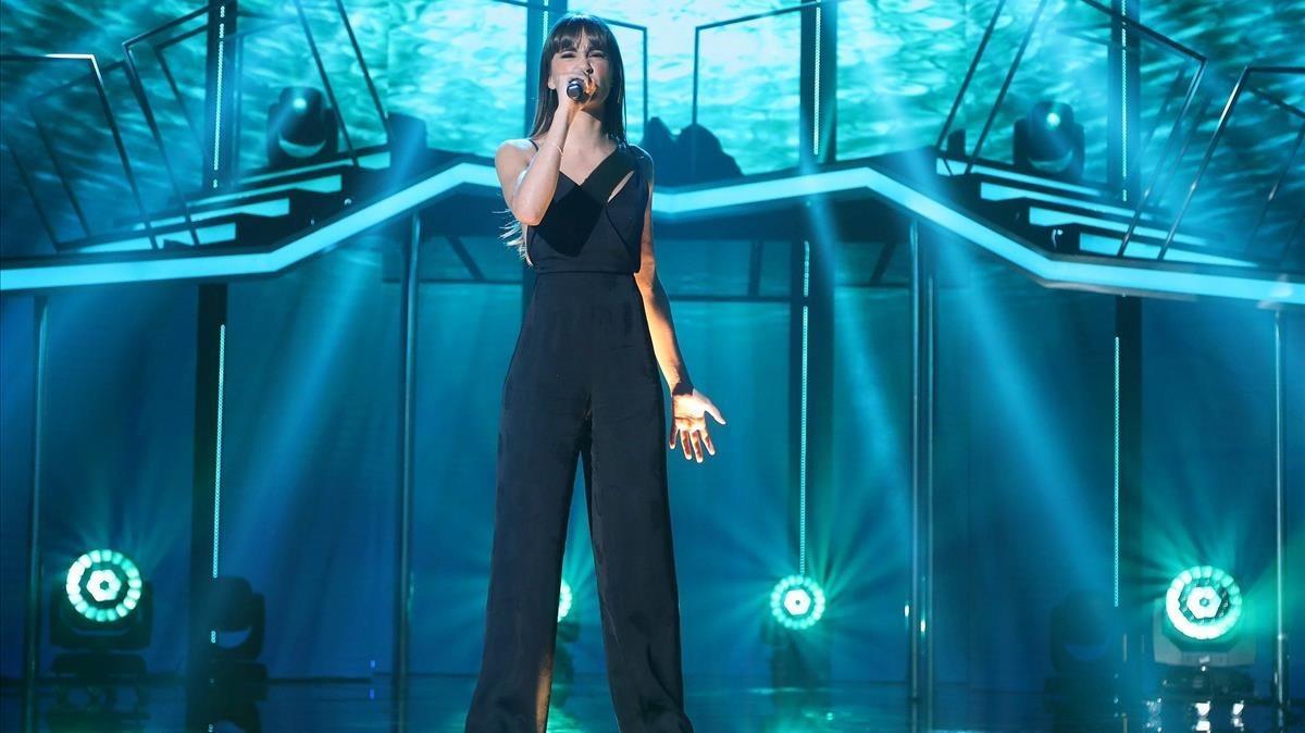 Aitana, durante su actuación en la final de OT.