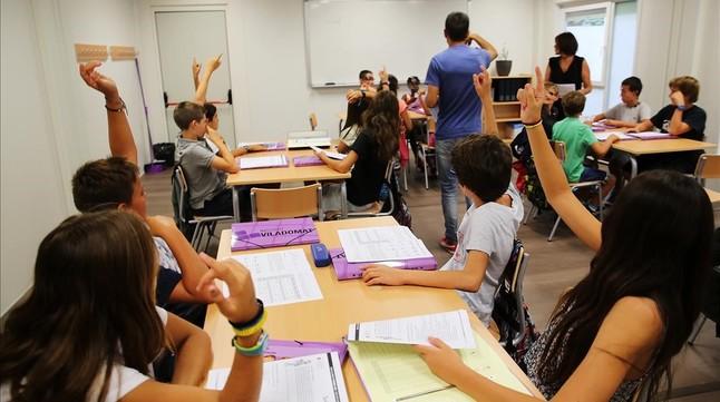 Clase de primero de ESO en el instituto Viladomat, en el Eixamplede Barcelona.
