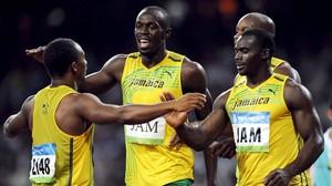 Frater, Bolt, Powell y Nesta Carter, el cuarteto de relevos de Jamaica en los JJOO de Pekín-2008.