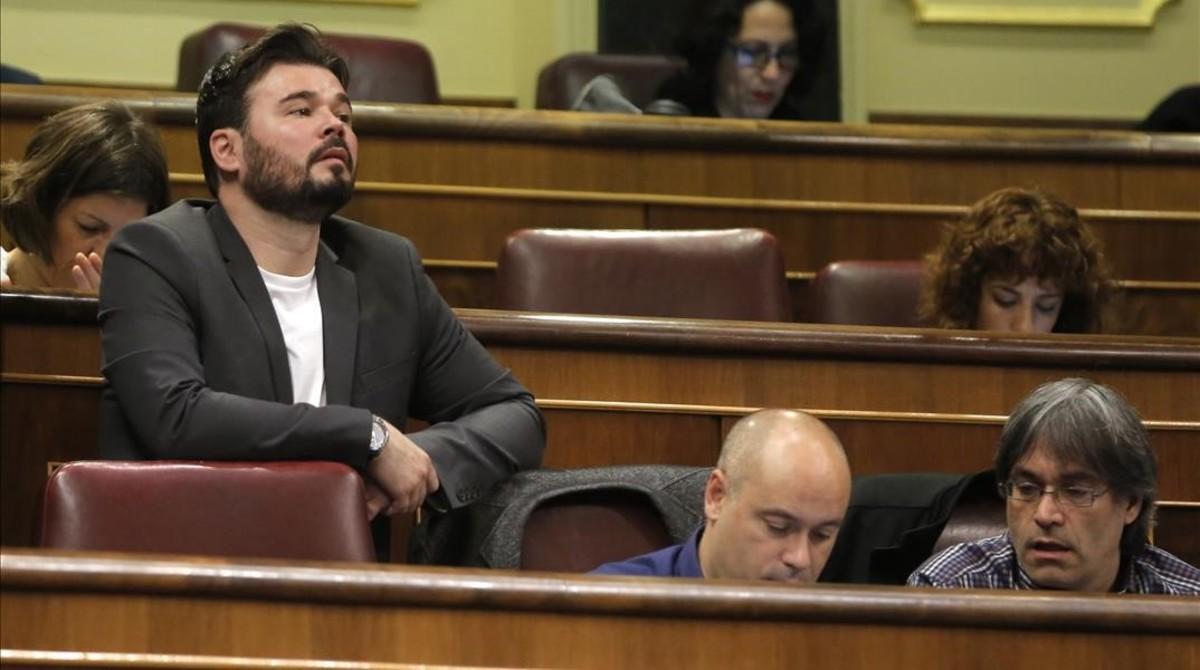 Gabriel Rufián,durante la sesión de control.