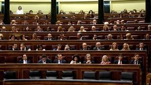 Imagen de los diputados del PP en el hemiciclo del Congreso.