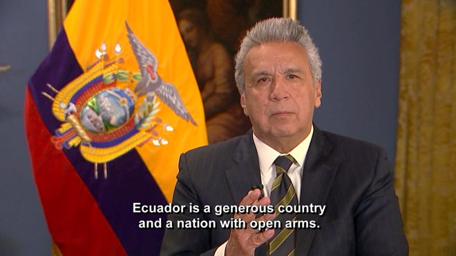 Lenín Moreno, presidente de Ecuador, confirma la retirada de asilo diplomático a Julian Assange.