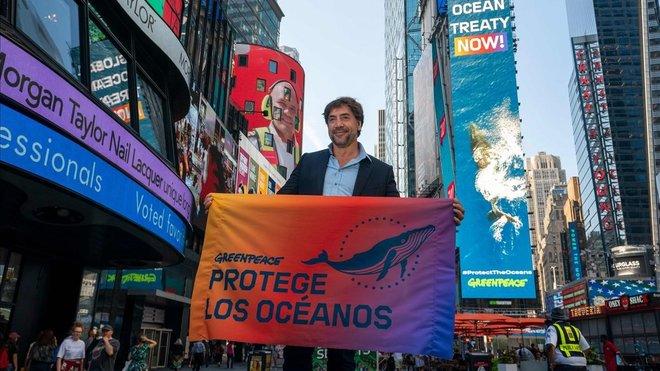 Javier Bardem, este lunes en Times Square.