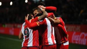 Los jugadores del Girona, una piña.