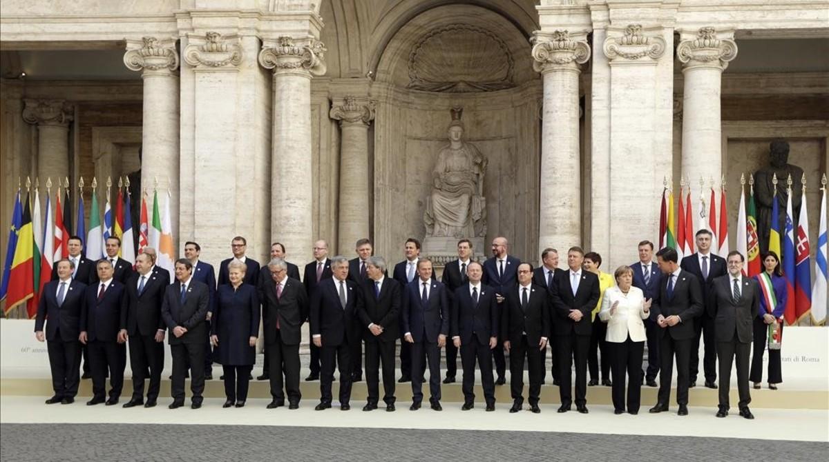 Los líderes de la UE posan en Roma.