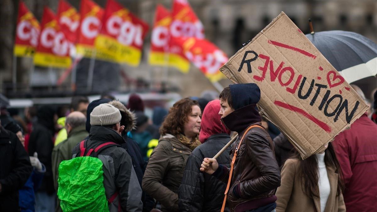 Manifestación contra la reforma de las pensiones, este martes en Nantes.