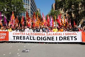 La manifestación del Primero de Mayo, el año pasadoen Barcelona.