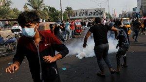 Manifestación de estudiantes, este lunes en Bagdad.