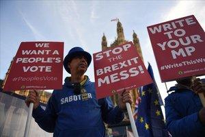 Un manifestante a favor de la UE pide una nueva votación sobre el brexit.