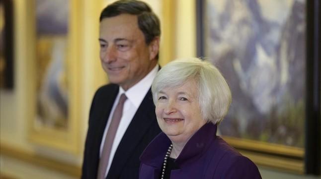 Mario Draghi y Janet Yellen en Jackson Hole en agosto del 2014.