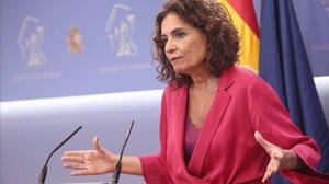 La ministra de Hacienda y portavoz de Gobierno, María Jesús Montero, este jueves.