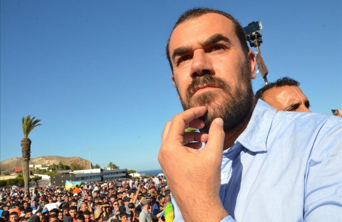 Nasser Zefzafi, en una protesta en mayo del 2017, poco antes de ser detenido por las autoridades marroquís.