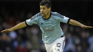 Nolito celebra un gol con el Celta.