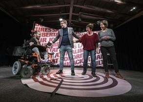 Pablo Echenique, Xavier Domènech, Marta Ribas y Marina Albiol, ayer, en Terrassa.
