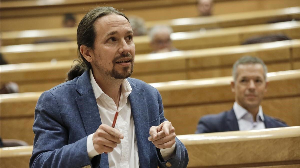 El vicepresidente del Gobierno, Pablo Iglesias,en el Senado