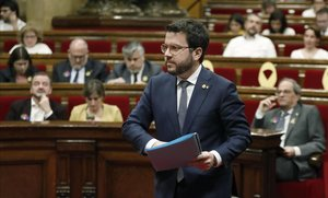 Pere Aragonès, en un pleno del Parlament.