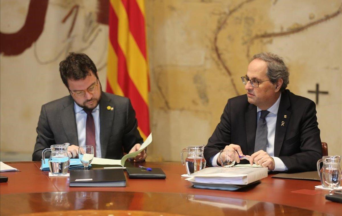 Pere Aragonès y Qum Torra, en la reunión de la ejecutiva del Govern.