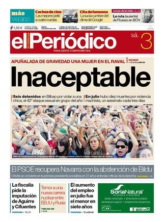 La portada de EL PERIÓDICO del 3 de agosto del 2019