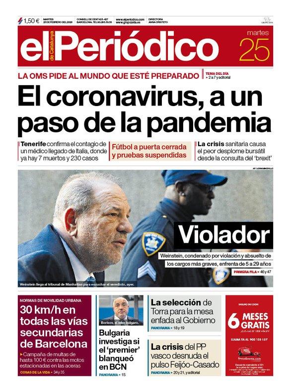 La portada de EL PERIÓDICO del 25 de febrero del 2020